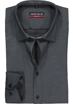 MARVELIS Body Fit overhemd, antraciet grijs gestipt structuur (contrast)