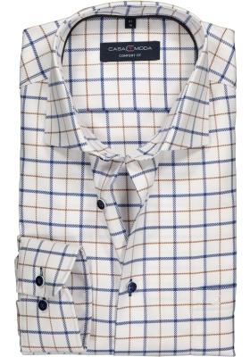 Casa Moda Comfort Fit overhemd, blauw, wit en bruin geruit twill