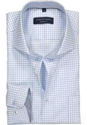 Casa Moda Comfort Fit overhemd, lichtblauw met wit geruit (contrast)