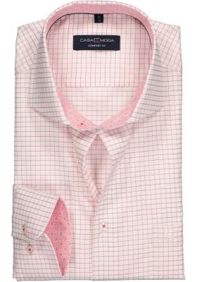 Casa Moda Comfort Fit overhemd, bordeaux rood met wit geruit (contrast)