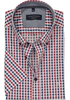 Casa Moda Sport Comfort Fit overhemd korte mouw, blauw, wit en rood geruit (contrast)