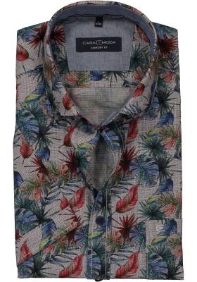 Casa Moda Sport Comfort Fit overhemd korte mouw, grijs, blauw en rood dessin (contrast)