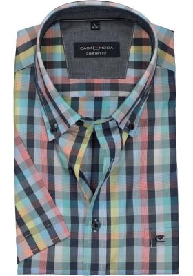 Casa Moda Sport Comfort Fit overhemd, korte mouw, geruit (contrast)
