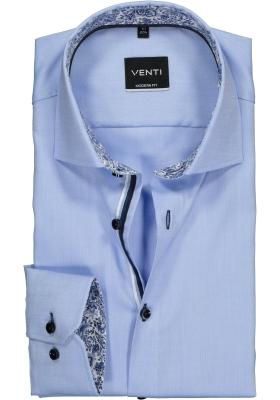 Venti Modern Fit overhemd, lichtblauw Oxford (contrast)