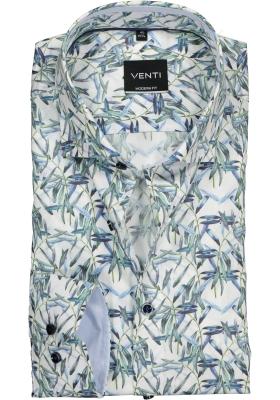 Venti Modern Fit overhemd, wit, blauw met groen dessin