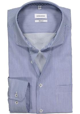 Seidensticker Regular Fit overhemd, blauw met wit gestreept (contrast)