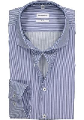 Seidensticker Slim Fit overhemd, blauw met wit gestreept (contrast)