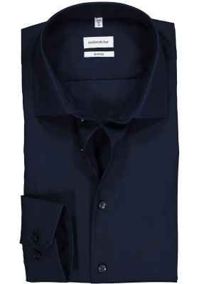 Seidensticker Shaped Fit overhemd, donkerblauw
