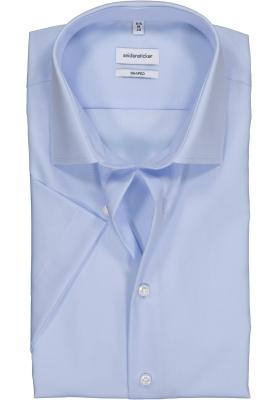 Seidensticker shaped fit overhemd, korte mouw, lichtblauw