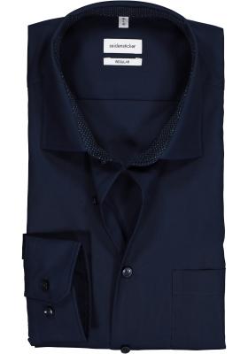 Seidensticker Regular Fit overhemd, donkerblauw (contrast)