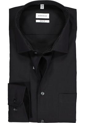Seidensticker regular fit overhemd, zwart (contrast)