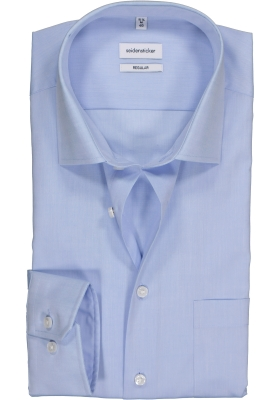 Seidensticker regular fit overhemd, mouwlengte 7, lichtblauw chambray