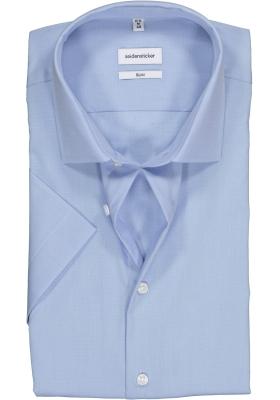 Seidensticker slim fit overhemd, korte mouw, lichtblauw fil a fil