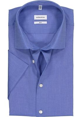 Seidensticker Slim Fit overhemd korte mouw, lichtblauw fil a fil