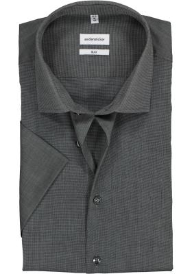 Seidensticker slim fit overhemd, korte mouw, grijs fil a fil