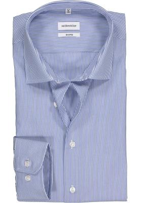 Seidensticker Shaped Fit overhemd, blauw gestreept