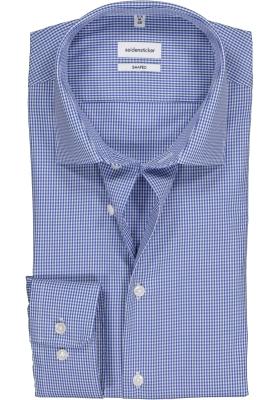 Seidensticker Shaped Fit overhemd, blauw geruit