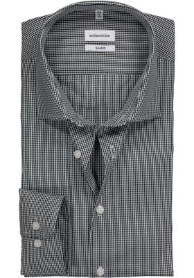 Seidensticker shaped fit overhemd, donkerblauw met wit geruit
