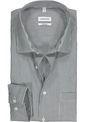 Seidensticker regular fit overhemd, donkerblauw met wit gestreept