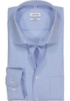 Seidensticker regular fit overhemd, lichtblauw met wit geruit