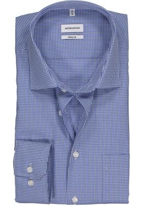 Seidensticker Regular Fit overhemd, blauw geruit