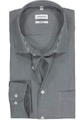Seidensticker regular fit overhemd, donkerblauw met wit geruit