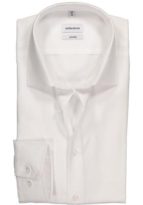 Seidensticker shaped fit overhemd, wit structuur