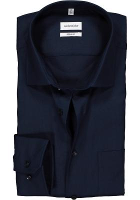 Seidensticker Regular Fit overhemd, donkerblauw structuur
