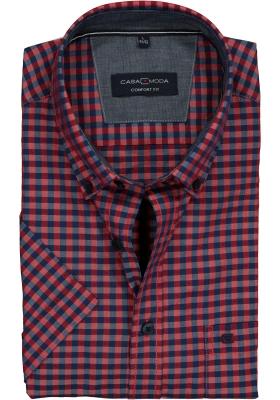 Casa Moda Sport Comfort Fit overhemd korte mouw, blauw-rood geruit met dessin (contrast)