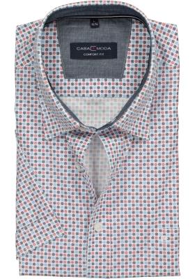 Casa Moda Sport Comfort Fit overhemd korte mouw, wit, blauw en rood dessin (contrast)