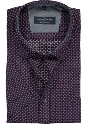 Casa Moda Sport Comfort Fit overhemd korte mouw, blauw, wit en rood dessin (contrast)