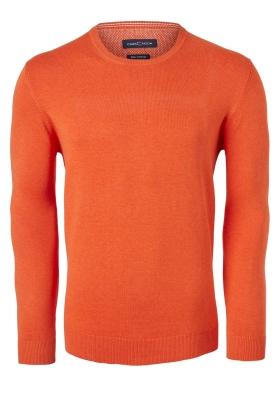 Casa Moda heren trui katoen O-hals, oranje