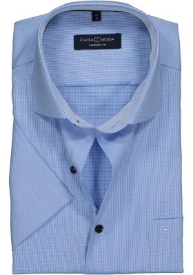 Casa Moda Comfort Fit overhemd korte mouw, lichtblauw structuur (contrast)