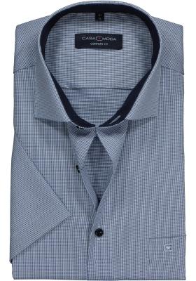 Casa Moda Comfort Fit overhemd korte mouw, blauw structuur (contrast)