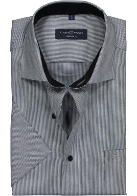 Casa Moda Comfort Fit overhemd korte mouw, grijs structuur (contrast)