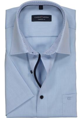 Casa Moda Comfort Fit overhemd korte mouw, lichtblauw (contrast)
