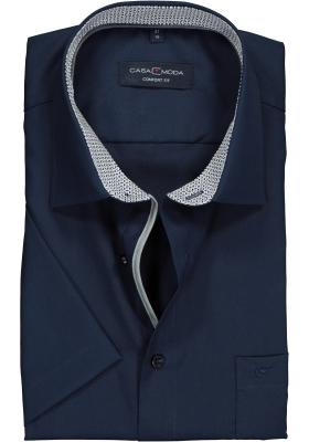 Casa Moda Comfort Fit overhemd korte mouw, donkerblauw (contrast)