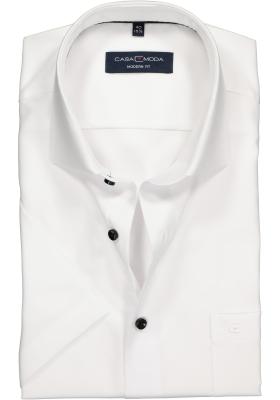Casa Moda Modern Fit overhemd korte mouwen, wit structuur
