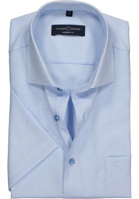 Casa Moda Modern Fit overhemd korte mouwen, lichtblauw structuur (contrast)
