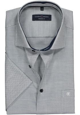 Casa Moda Modern Fit overhemd korte mouwen, blauw structuur (contrast)