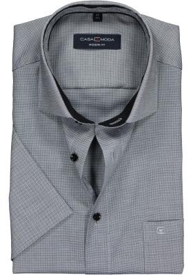 Casa Moda Modern Fit overhemd korte mouwen, grijs structuur (contrast)