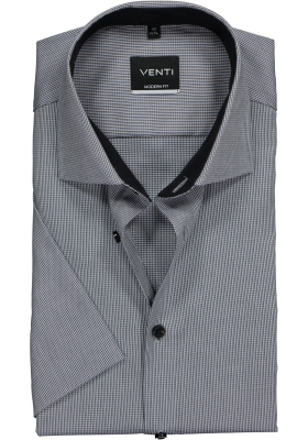 Venti Modern Fit overhemd korte mouw, grijs structuur (contrast)