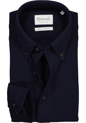 Michaelis Slim Fit overhemd, donkerblauw tricot button-down