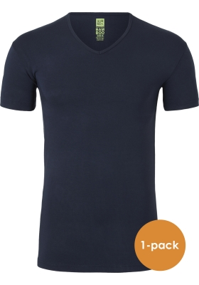Alan Red stretch T-shirt Baltimora bamboo,  V-hals, blauw
