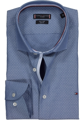 Tommy Hilfiger Classic Slim Fit overhemd, blauw met wit dessin