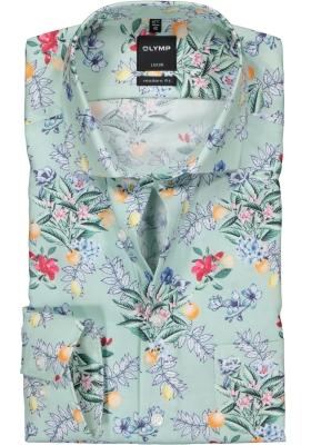OLYMP Modern Fit overhemd, groen bloem dessin