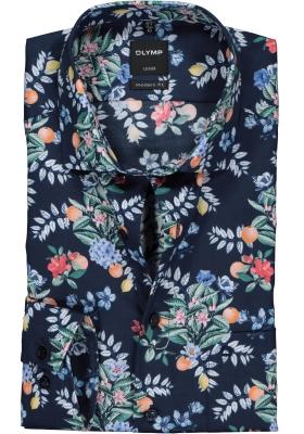 OLYMP Modern Fit overhemd, marine blauw bloem dessin