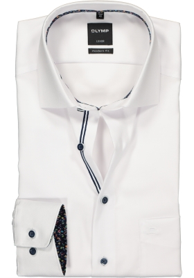 OLYMP Modern Fit overhemd mouwlengte 7, wit structuur (contrast)