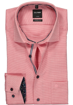 OLYMP Luxor modern fit overhemd, mouwlengte 7, rood structuur (contrast)