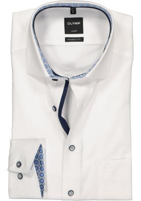 OLYMP Luxor modern fit overhemd, mouwlengte 7, wit structuur (contrast)